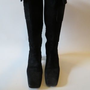 YSL TALL SUEDE KNEE HIGH SIDE FLAP POCKET BOOT 6 *